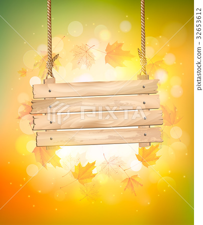 Autumn background with leaves. and wooden sign. 32653612