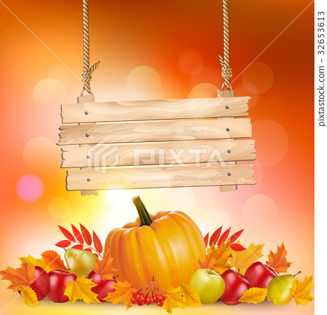 Autumn background with leaves and wooden sign. 32653613