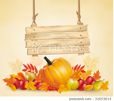 Autumn background with leave and vegetable 32653614