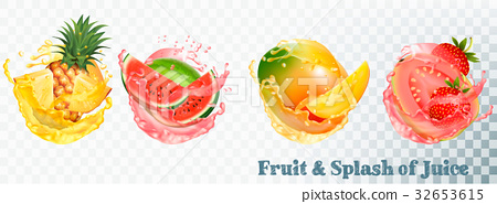 Set of fruit juice splash .  32653615