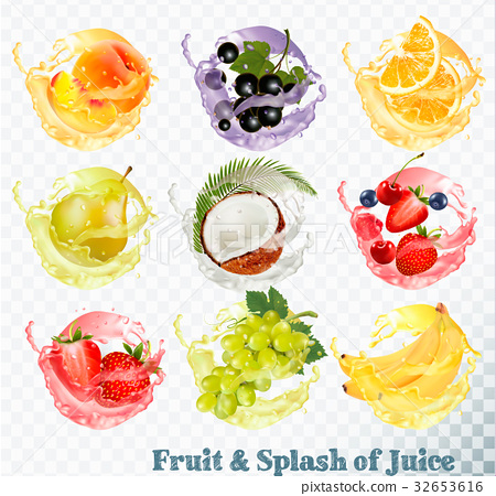 Set of fruit juice splash . Peach, orange, pear 32653616