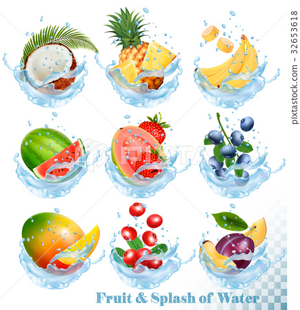 Big collection of fruit in a water splash icons.  32653618