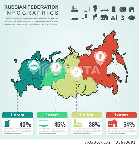 Russian Federation map with Infographic elements Stock