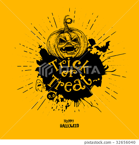 Trick or treat pumpkin with splash 32656040