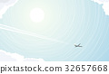 Abstract illustration of plane among clouds. 32657668