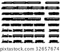 Vector silhouettes of trains and locomotives. 32657674