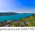 Aerial view, beautiful clear alpine lake Attersee  32657785