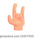 Rock and Roll hand gesture cartoon vector 32657930