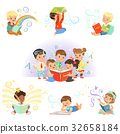 Cute little kids reading fairy tales set 32658184