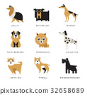 Collection of different dogs breeds characters and 32658689