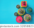 Colorful of various cactus with blue copy space  32658823