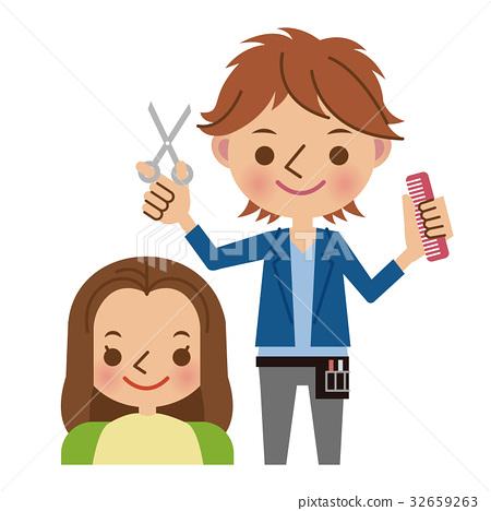 Hairdresser and customer 32659263