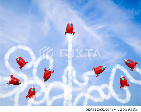 leadership concept with red space shuttle launch 32659385