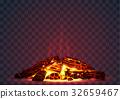 Smoldering fire at night 32659467