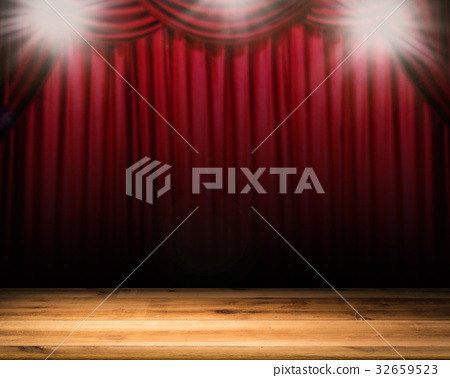 blank stage with red curtain background 32659523
