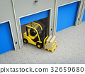 forklift truck with boxes in warehouse 32659680