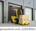 forklift truck with boxes in warehouse 32659681