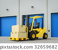 forklift truck with boxes in warehouse 32659682