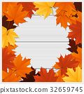 Hello autumn background with colorful leaves 32659745