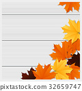Hello autumn background with colorful leaves 32659747