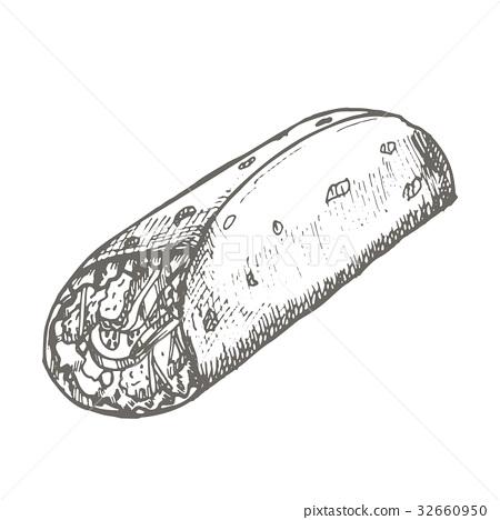 Vector vintage burrito drawing. Hand drawn 32660950