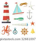 nautical, set, cartoon 32661097