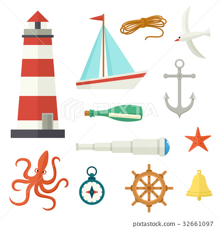 Big set of flat cartoon style nautical elements 32661097