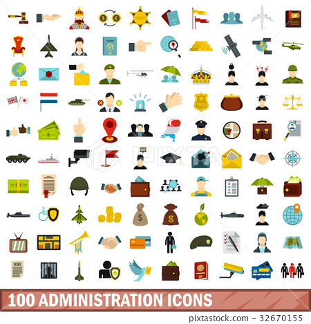 100 administration icons set, flat style 32670155