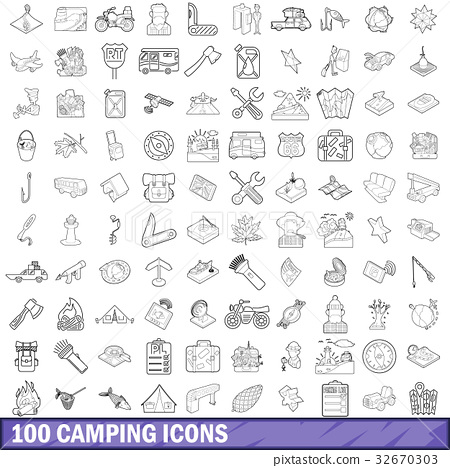 100 camping icons set, outline style 32670303