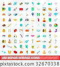 100 repair service icons set, cartoon style 32670338