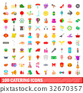 100 catering icons 32670357