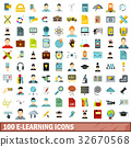 100, e-learning, icons 32670568