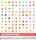 100 sushi bar icons set, cartoon style 32670598