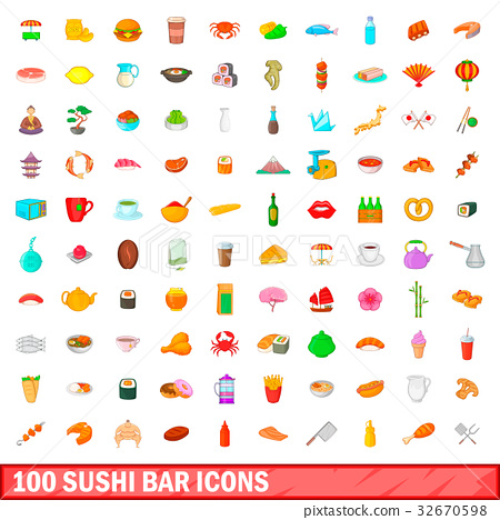 100 sushi bar icons set, cartoon style 32670598