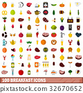 100 breakfast icons set, flat style 32670652