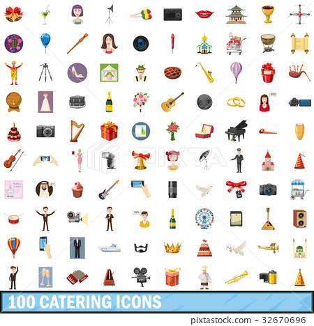 100 catering icons set, cartoon style 32670696