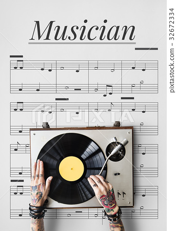 Hands working on musical instrument network graphic overlay background 32672334