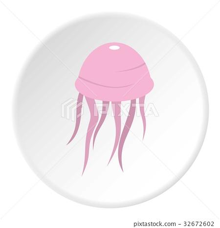 Pink jellyfish icon circle 32672602