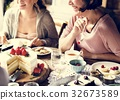 Friends Gathering Together on Tea Party Eating Cakes Enjoyment h 32673589