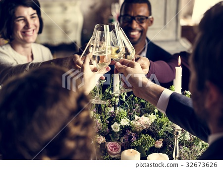 People Cling Wine Glasses on Wedding Reception with Bride and Gr 32673626
