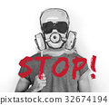 Stop Anti Against Abandon Gas Mask Word Graphic 32674194