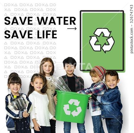 Children holding bucket network graphic overlay background 32674743