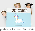 Children holding billboard network graphic overlay 32675042