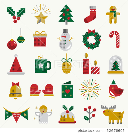 Christmas Vector Icon Set Collection Concept 32676605