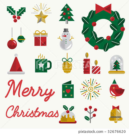 Christmas Vector Icon Set Collection Concept 32676620