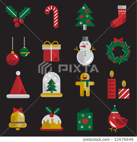 Christmas Vector Icon Set Collection Concept 32676646