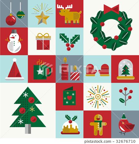 Christmas Vector Icon Set Collection Concept 32676710