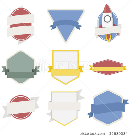 Mixed Set of Spaceship Badges Emblem Label Icon Illustration Vector 32680084