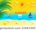 Beach Seashore. Vector background 32681095