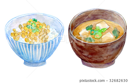 Watercolor illustration Food rice Miso soup 32682630